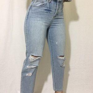 Brandy Melville Light Wash Distressed Mom Jeans